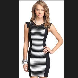 BEBE bodycon stripe and mesh dress